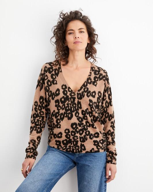 Pull V imprimé ikat léopard - Camel