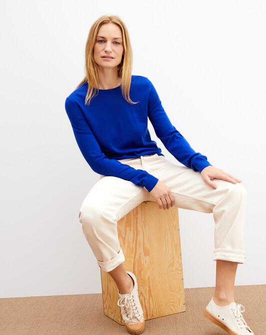 Contemporary extrafine crew neck pullover - Electric blue