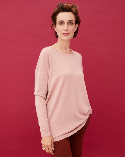 Contemporary maxi crew neck pullover - Blush
