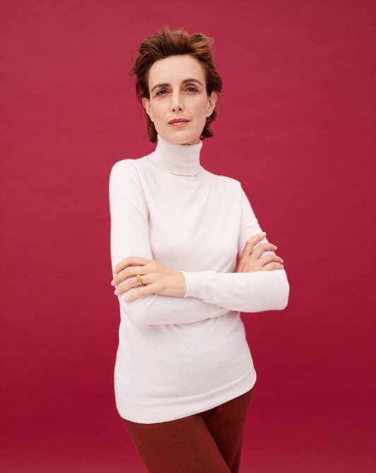 Contemporary extrafine roll-neck pullover - Soft pink melange