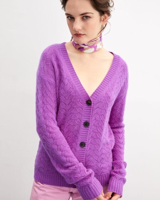 Airy cable-stitch loose cardigan - Allium