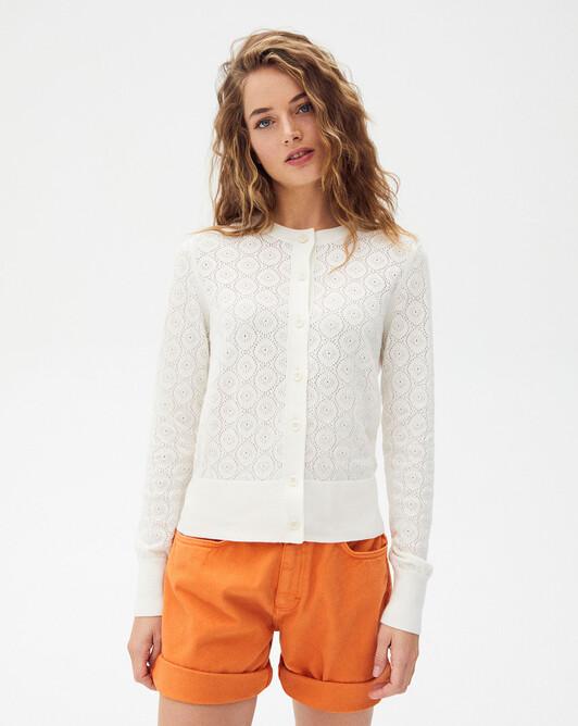 Flowers pointelle cardigan - Autumn white