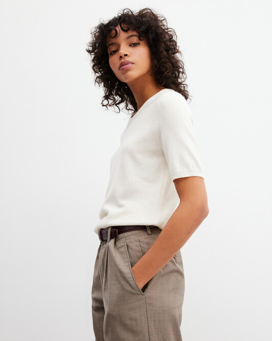 Classic short-sleeved crew neck pullover - Autumn white