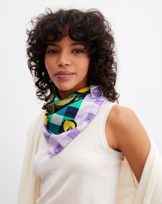 Lemon gingham printed silk square scarf 65cm x 65cm - Palm beach