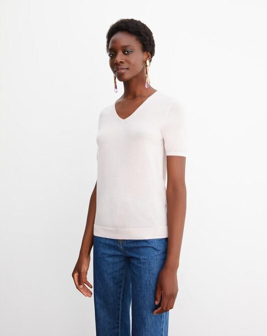 Contemporary extrafine short-sleeved V-neck - Soft pink melange