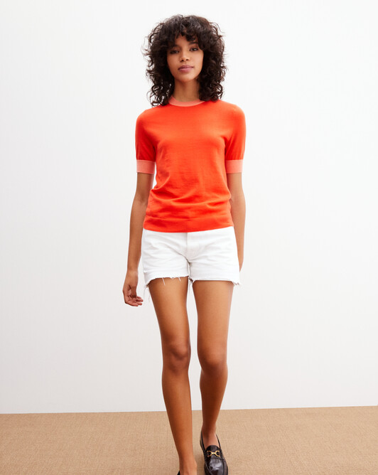 Extrafine short-sleeved crew neck pullover with contrasting finishes - Tan orange/melon