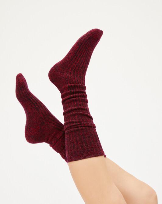 Chaussettes hautes moulinées - Marine/rubis