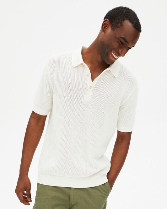 Short-sleeved giant fishnet polo shirt - Autumn white