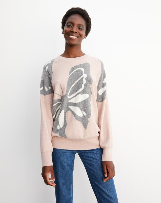 Butterfly intarsia oversized crew neck pullover - Petal