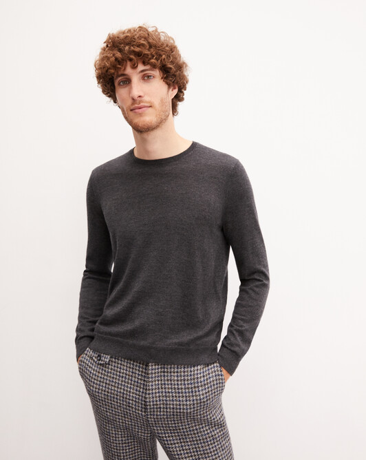 Contemporary extrafine crew neck pullover - Charcoal grey