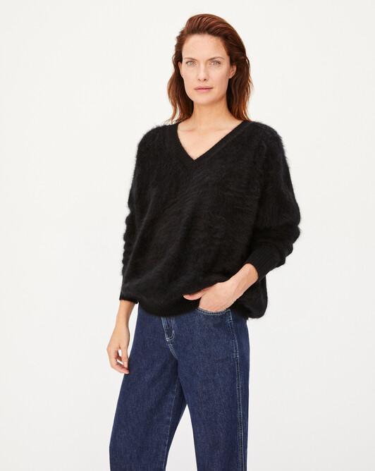 Brushed cashmere V-neck sweater - Black