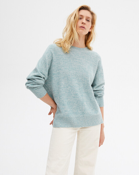 4 ply marl crew-neck sweater - Marled spruce//canvas