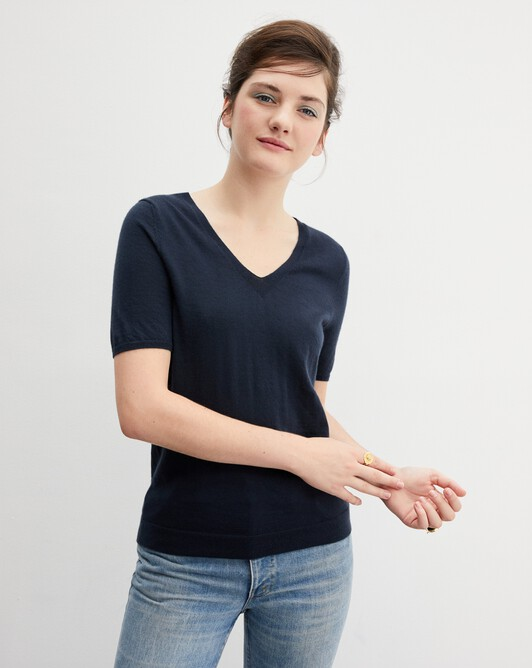 Contemporary extrafine short-sleeved V-neck - Graphite blue