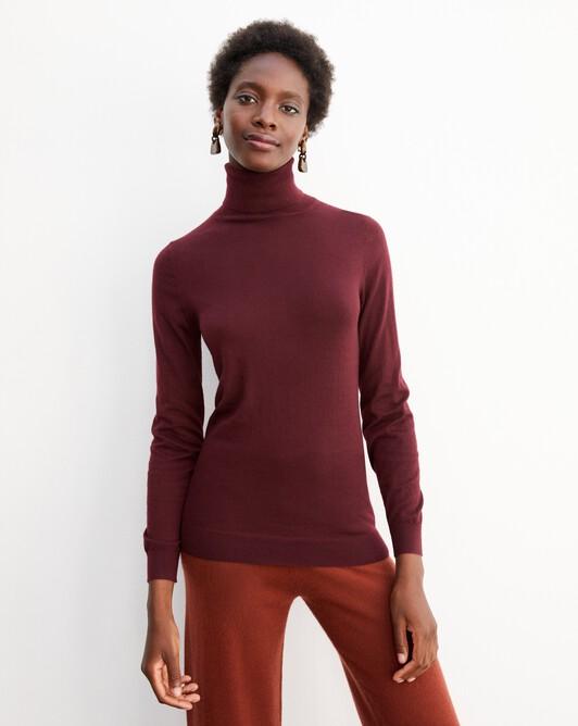 Contemporary extrafine roll-neck pullover - Azuki