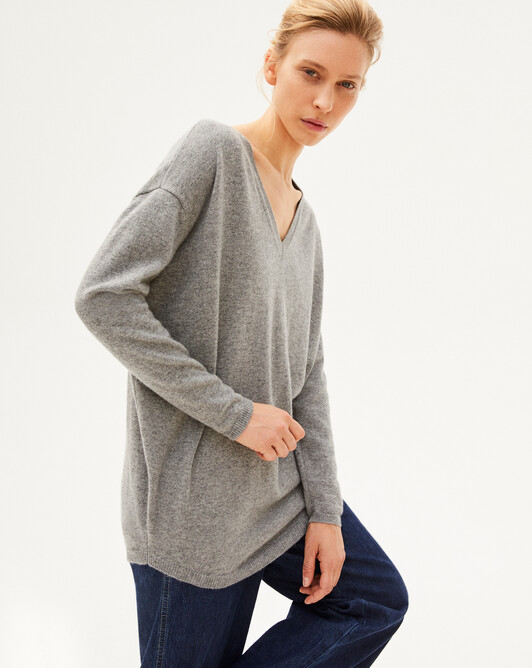 Maxi V-neck sweater - Flannel grey