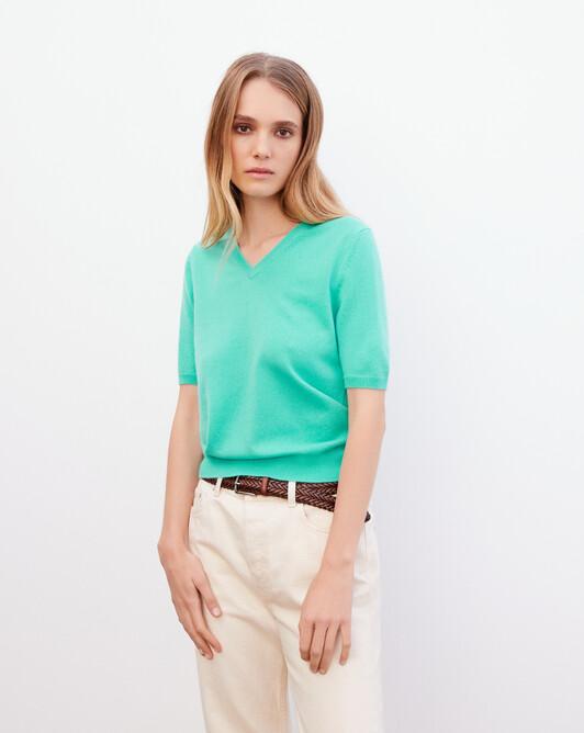 Timeless short-sleeved V-neck pullover - Palm beach