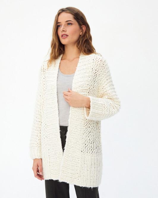 Hand-knit jacket - Autumn white