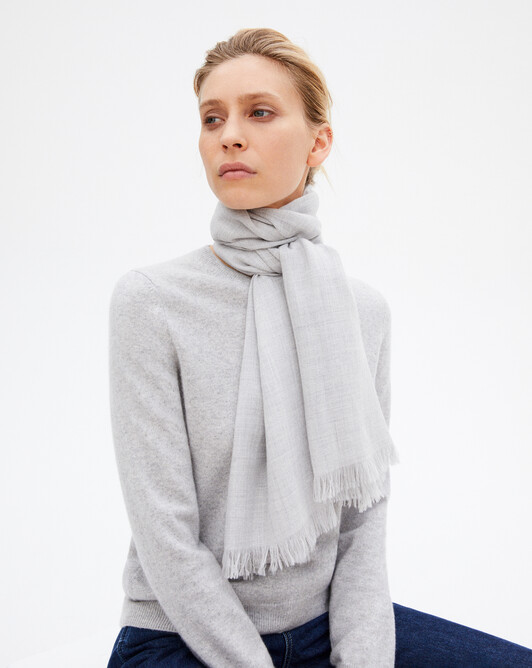 Cashmere voile scarf - Frost grey