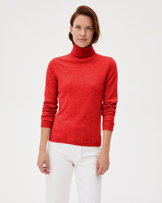 Fitted roll-neck - Ruby red