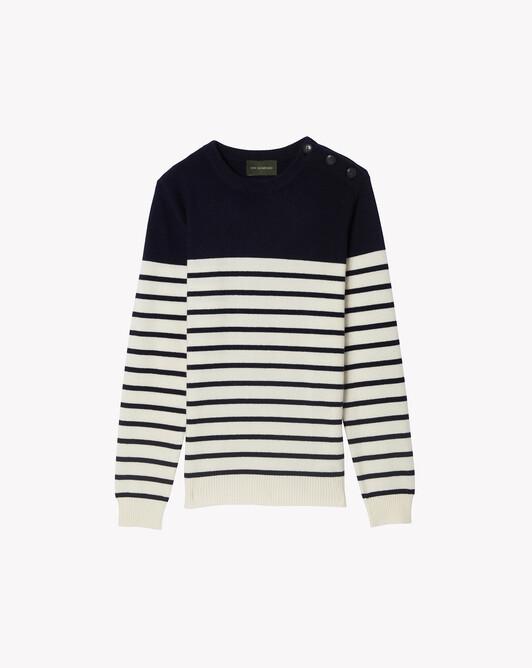 Button-shoulder striped crew-neck sweater - Navy blue/autumn white
