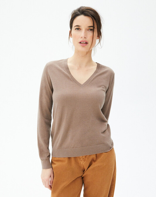 Extrafine V-neck sweater - Coriander