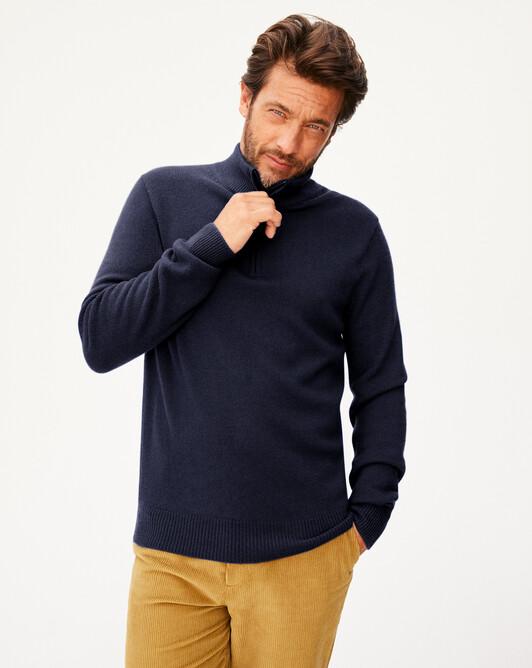 4-ply half-zip pullover - Navy blue