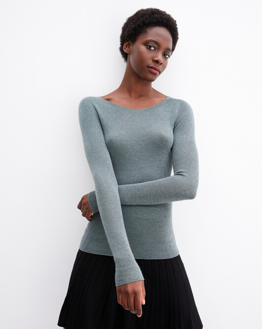 Metallic ribbed seamless crew neck pullover - Horizon