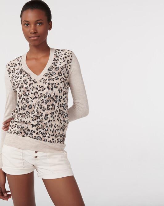 Pull V maxi leopard - Tourterelle