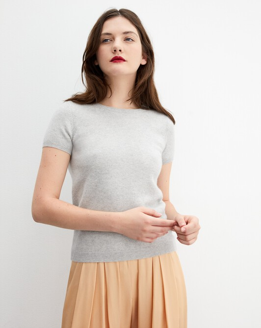 Open-back short-sleeved crew neck pullover - Frost grey