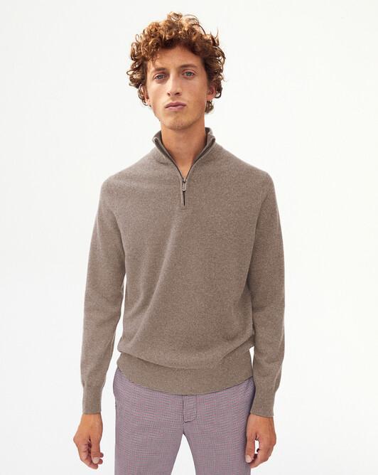 2-ply half-zip pullover - Coriander