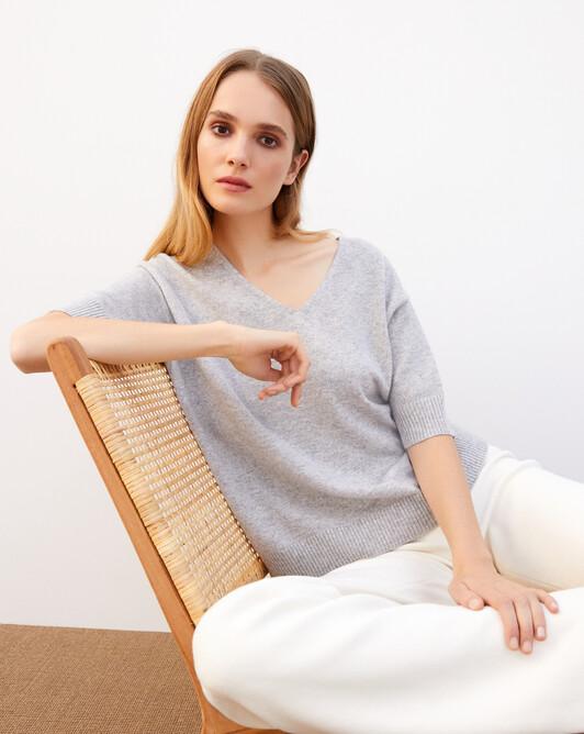 Contemporary short-sleeved maxi V-neck - Frost grey