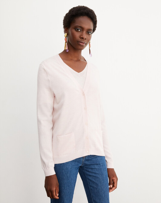 Contemporary extrafine cardigan - Soft pink melange