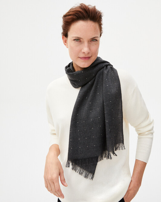 Cashmere voile scarf with crystals 150 x 50 cm - Charcoal grey