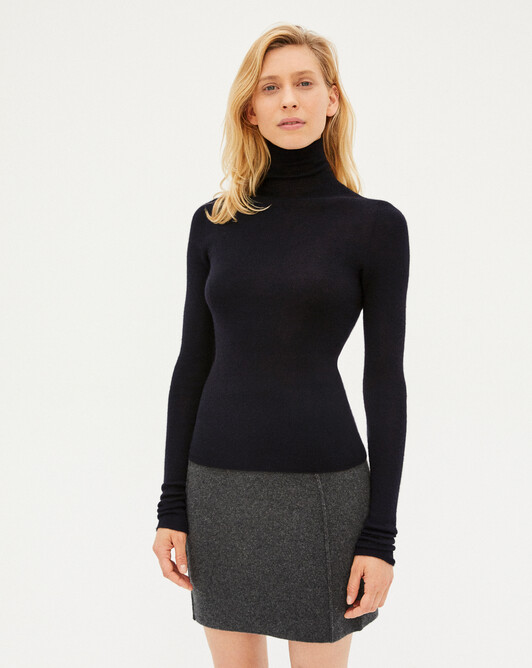 Seamless extrafine roll-neck sweater sweater - Navy blue