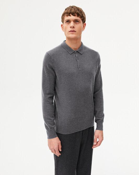 4-button Polo shirt - Concrete