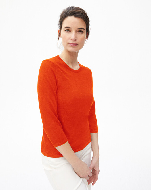 3/4 length-sleeved extrafine crew-neck sweater - Passion