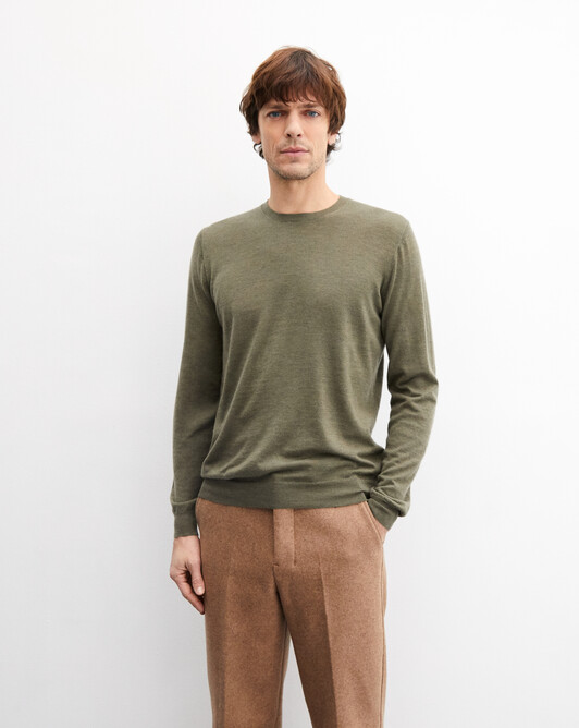 Contemporary extrafine crew neck pullover - Khaki