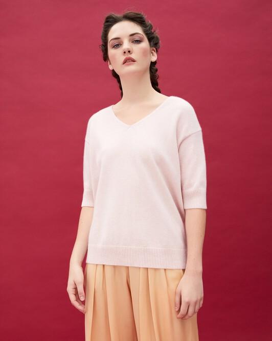 Contemporary short-sleeved maxi V-neck - Soft pink melange