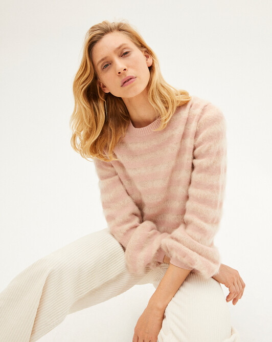 Brushed mohair stripe crew-neck sweater - Make up/canvas