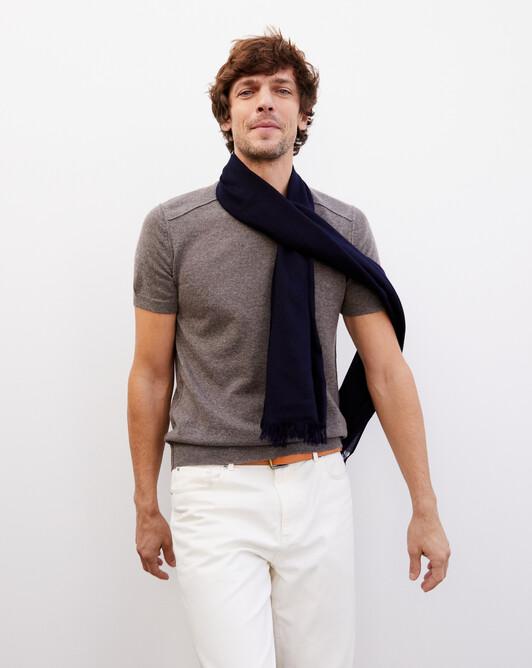 Cashmere voile scarf 150 cm x 55 cm - Navy blue