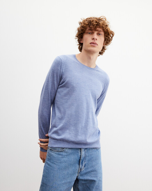 Contemporary extrafine crew neck pullover - Denim blue