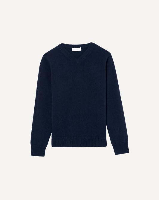 Kids classic V-neck sweater - Navy blue
