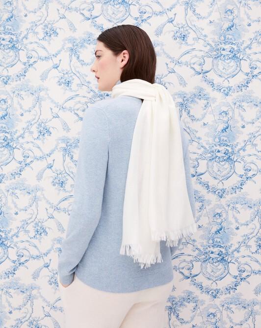 Cashmere voile scarf 150 cm x 55 cm - Autumn white