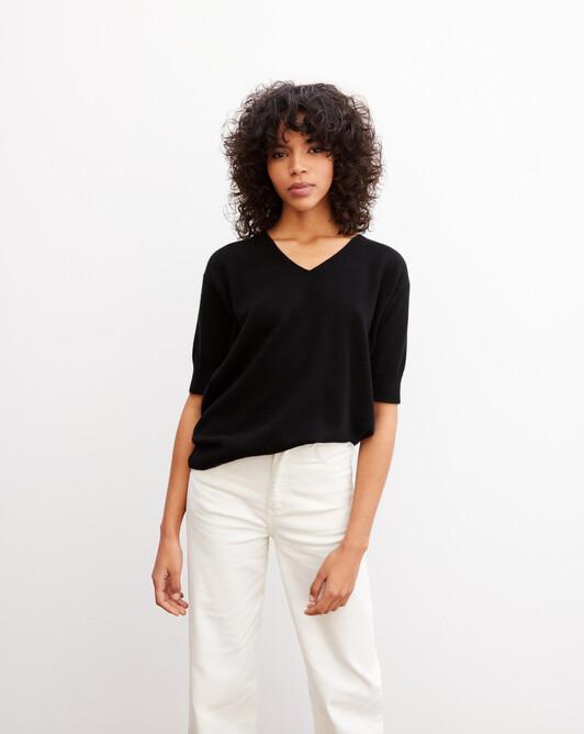 Contemporary short-sleeved maxi V-neck - Black