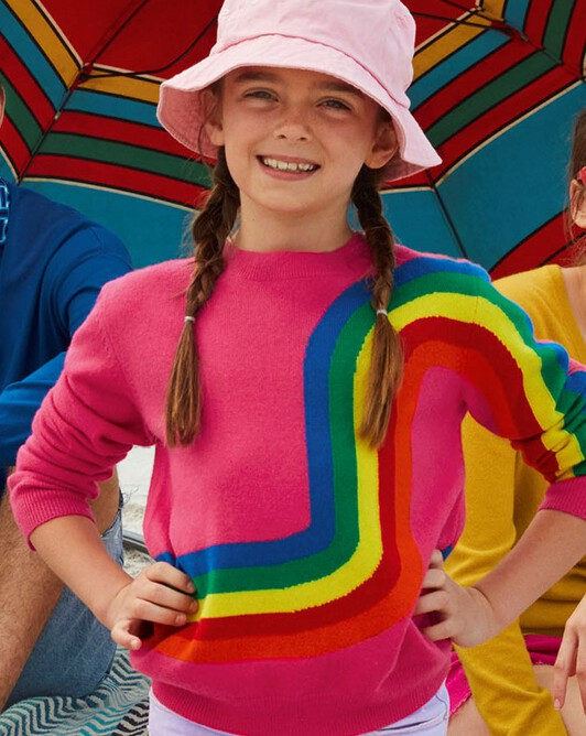 Rainbow intarsia crew-neck sweater - Pitaya