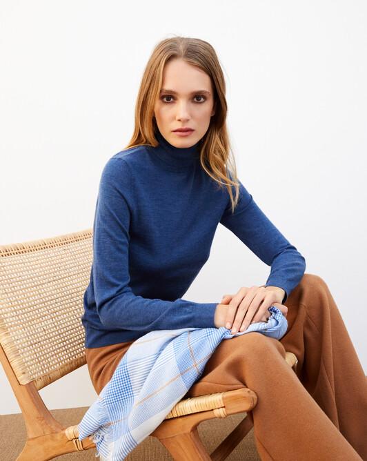 Contemporary extrafine roll-neck pullover - Indigo