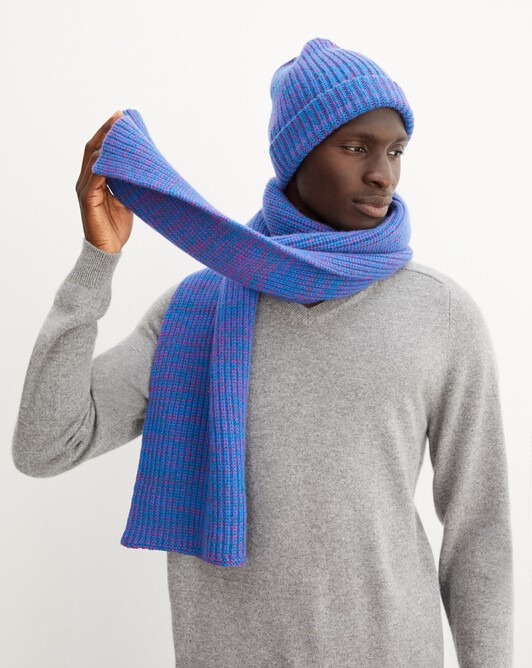 Three-tone marl scarf 170 cm x 30 cm - Marled cobalt