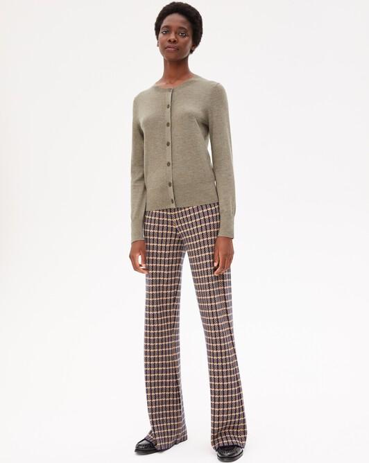 Pantalon jacquard tailleur - Marine/camel