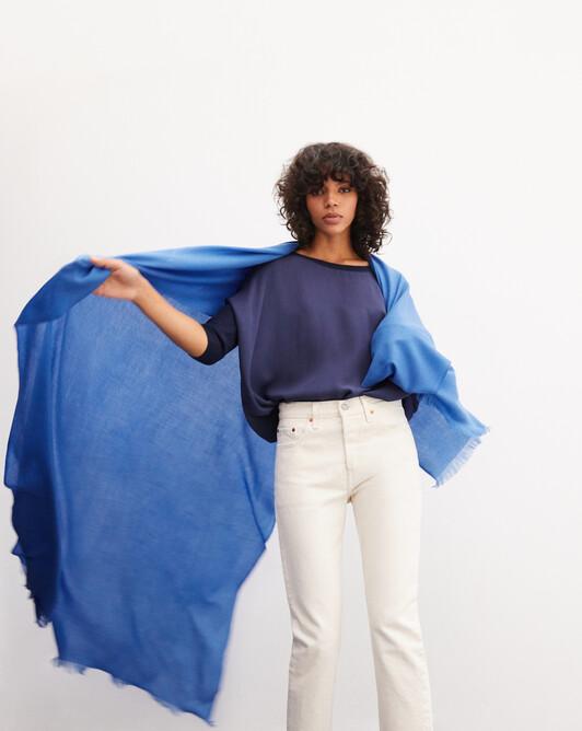 Étole géante voile de cachemire 250 cm x 120 cm - Bleu de france