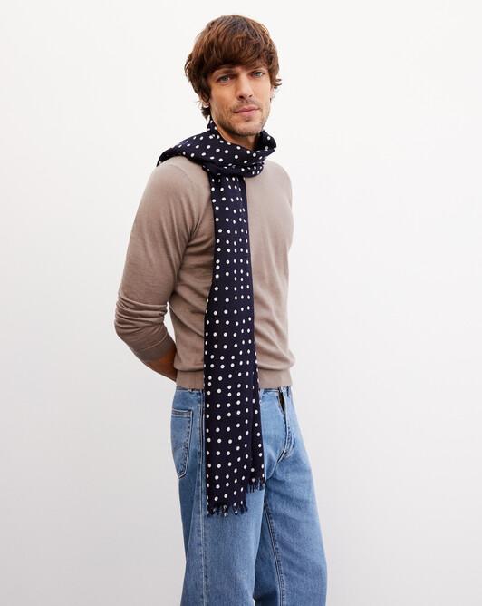Polka dot printed scarf 150cm x 55cm - Navy blue